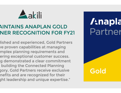 Akili Recognized as Anaplan Gold Partner for Third Year